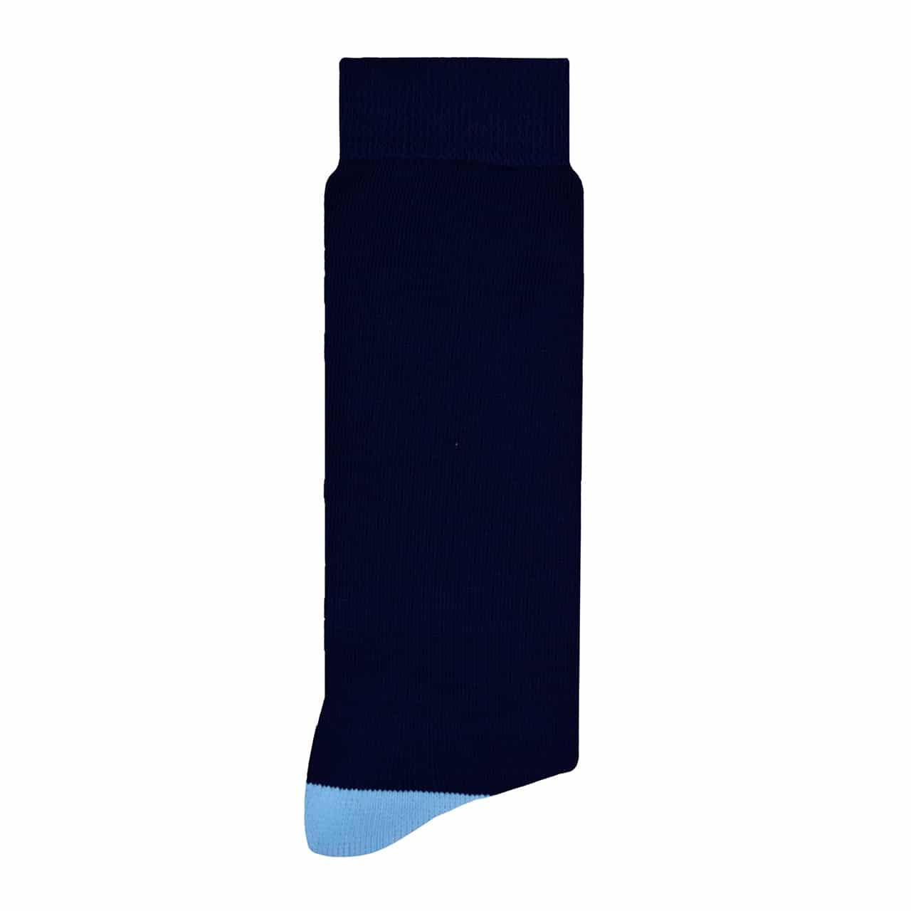 Liso Azul Marino Calcetín con Diseño Divertido