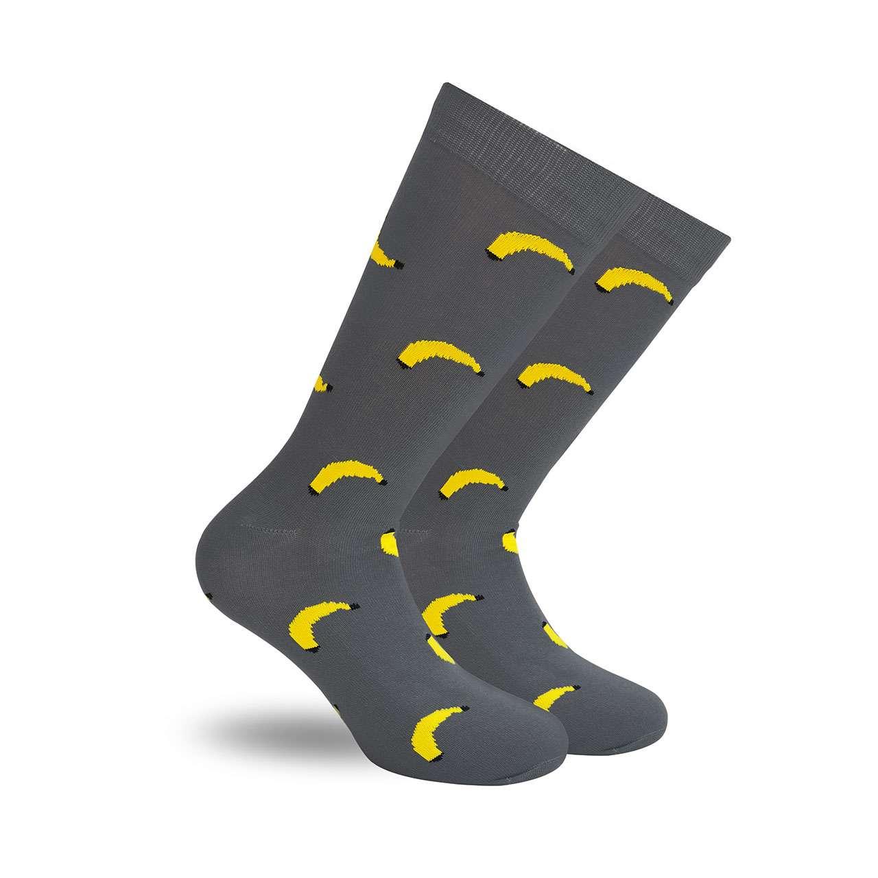 Plátanos Gris Calcetín con Diseño Estampado