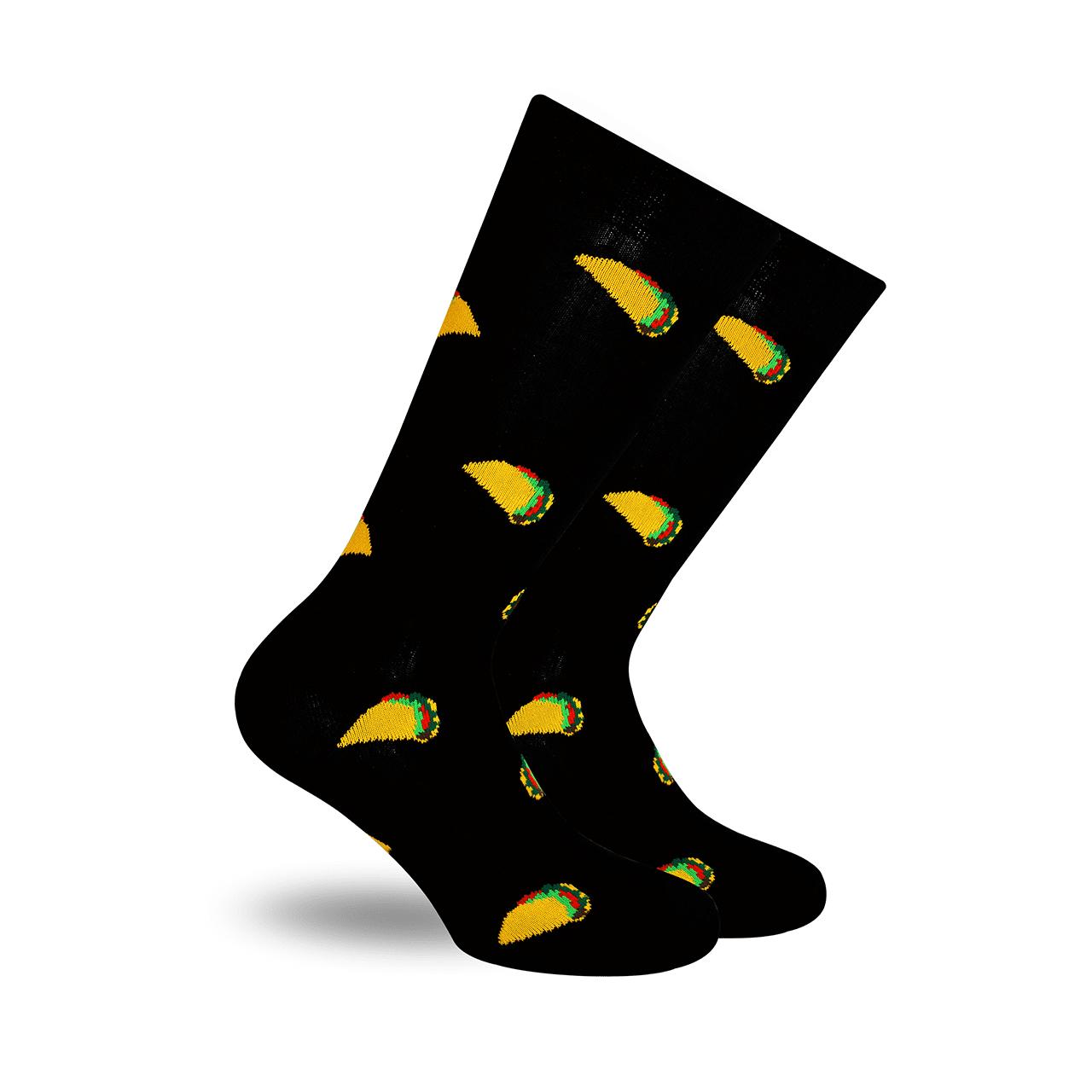 Tacos Negro Calcetín con Diseño Mexicano