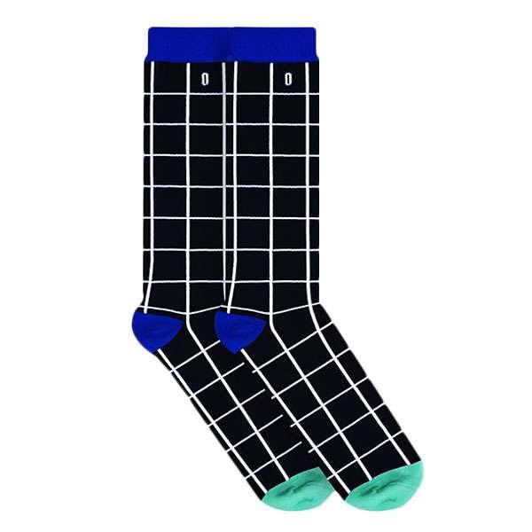 Black Grid Calcetin Estilo Clásico